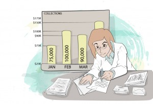 Accounts Manager Reviews Stacks of Paperwork